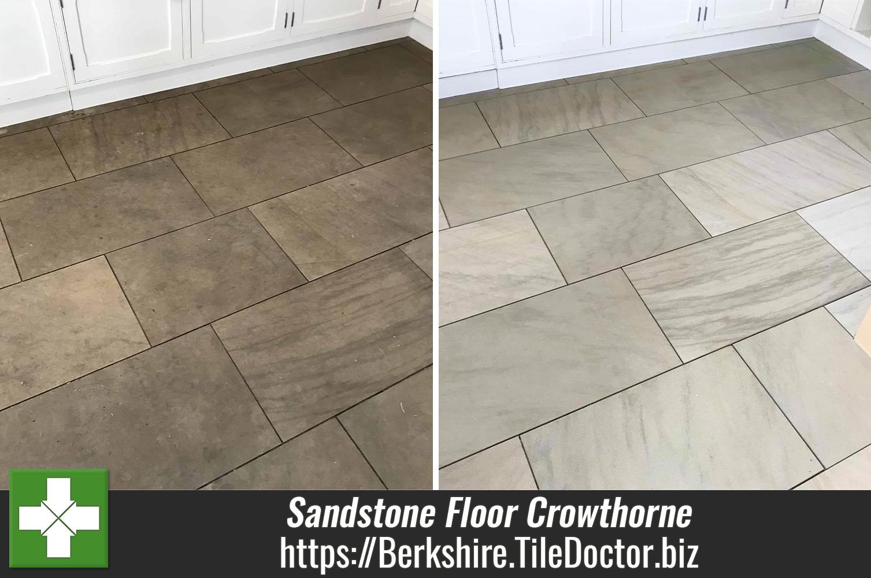 Sandstone Flagstone Floor Before After Renovation Crowthorne